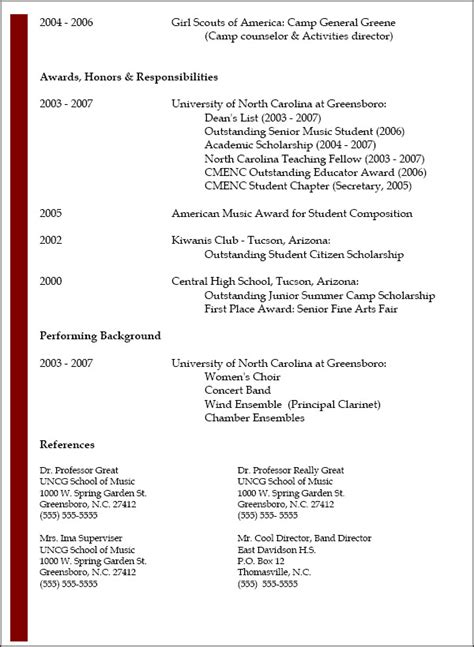 resume awards and honors section