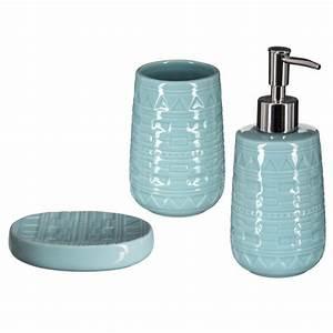 Accessoire Salle De Bain Bleu : set de 3 accessoires salle de bain g o bleu ~ Teatrodelosmanantiales.com Idées de Décoration