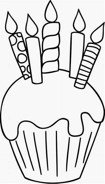 Birthday Cupcakes Cupcake Coloring Cakes Outlines Happy