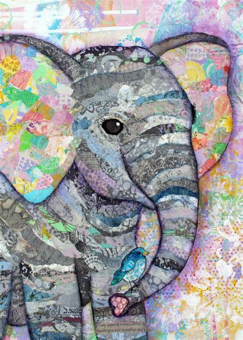 elephant collage baby mixed print canvas artwork nursery magazine etsy sizes bird morales lisa framed various similar items wall quilt
