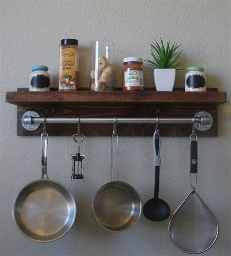 Pan Shelf With Hooks by Modern Rustic Spice Rack Shelf With 23 Quot Pot Rack Bar 5