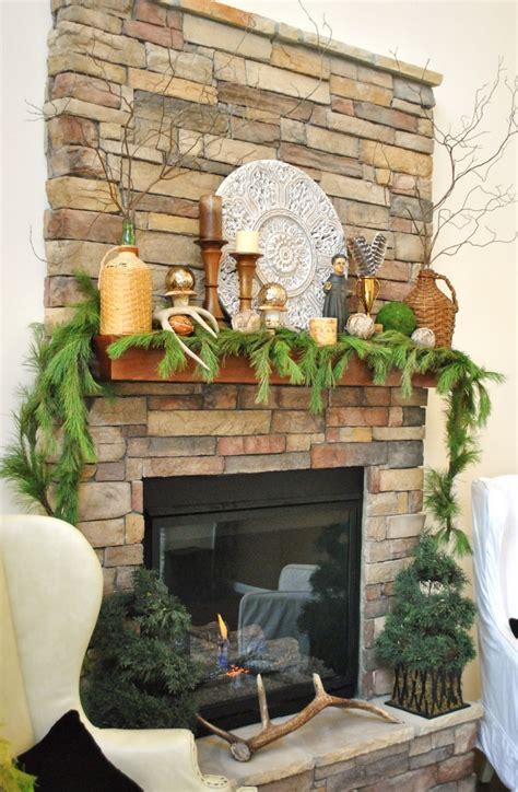 Ideas Stone Fireplace With Beautiful Mantel Decorating