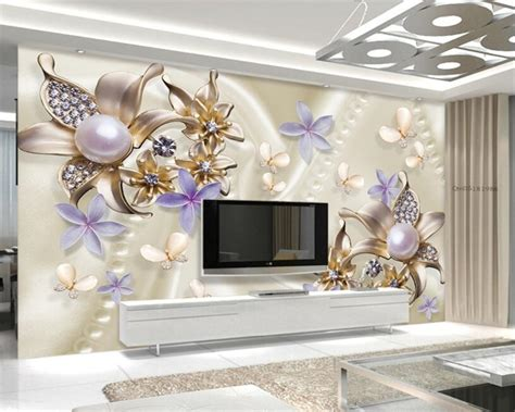 Home Interior Butterflies : Beibehang Wall Paper Home Decor European Style Pearl