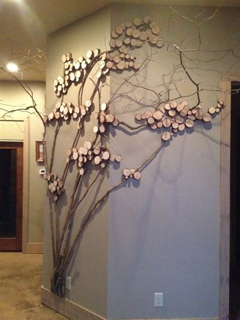 tree art twig art  wall decor wall art  mountain