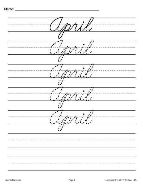 12 Free Cursive Handwriting Worksheets  Months Of The Year! Supplyme