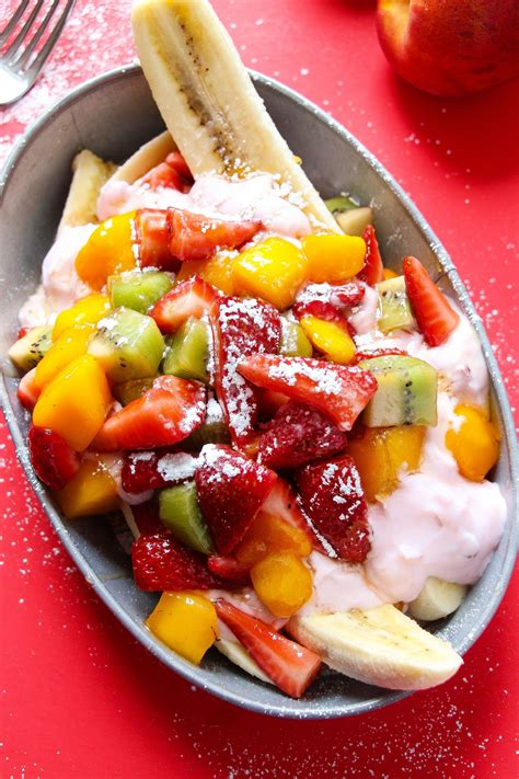 healthy breakfast banana splits with fruit and nutella