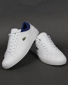 Lacoste Straightset Leather Trainers White/Blue,sport ...