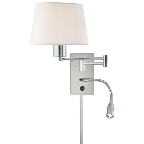 george reading room chrome two light swing arm wall sconce