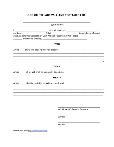Downloadable Will Template by Last Will Testament Template