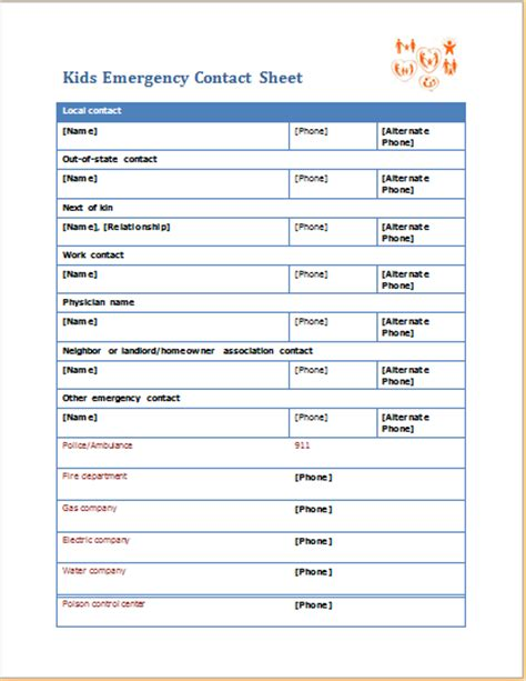 emergency contact template emergency contact sheet editable ms word template word excel templates