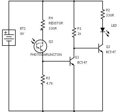 photodiode light detector circuit dark sensor using transistor phototransistor and