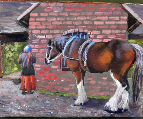 horse draft resting lesson gingercooklive painting acrylic beginners lessons final