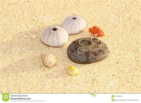 Two Rings, Wedding On The Beach Stock Images