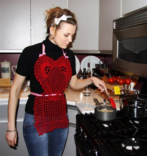 sexy red heart crocheted valentines day apron