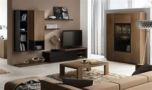 Meuble Mural Salon : ensemble meuble tv mural notte mobilier design pour salon bois ~ Teatrodelosmanantiales.com Idées de Décoration