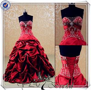 jj3540 sweetheart silk satin puffy embroidery beautiful With red wedding dresses for sale