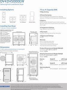 Samsung Dv42h5000ew A3 Specification Sheet