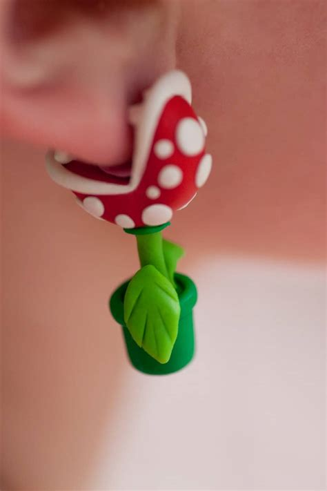 super mario piranha plant earring brilliant nerd