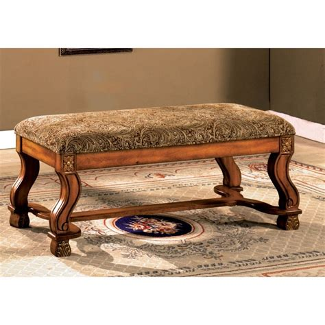 Fabric Bench Furniture by Furniture Of America Sansa Fabric Bench In Antique Oak