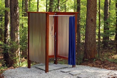 Outdoor Showers : Fantastic Ideas For Outdoor Shower Enclosure In Garden