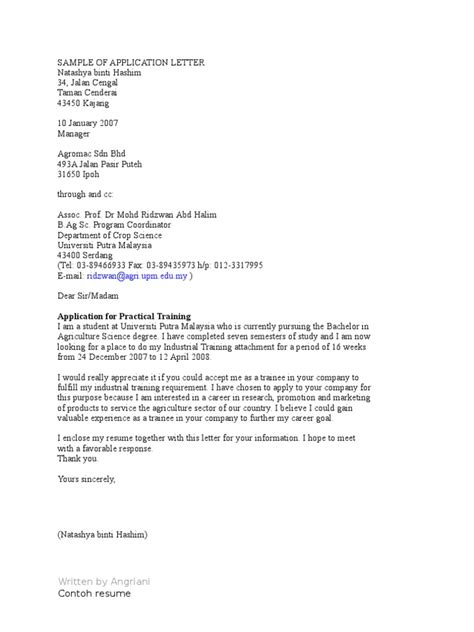 contoh cover letter bahasa malaysia cover letter
