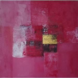 Tableau Rose Et Gris : tableau abstrait contemporain ton rose fonc 50x50 cm ~ Teatrodelosmanantiales.com Idées de Décoration
