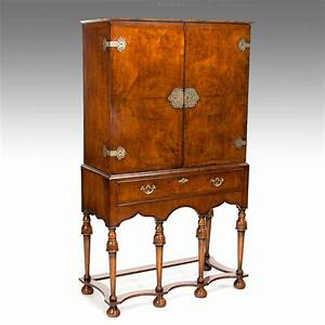 A Good Quality Antique Walnut Cocktail Cabinet