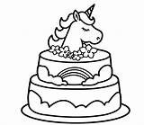 Unicorn Coloring Cake Activity Printable sketch template