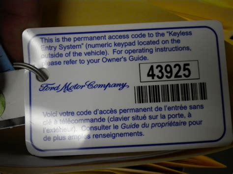 keyless entry keypad code card ford truck enthusiasts forums