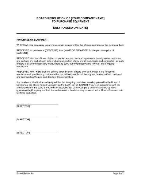 Board Resolution to Purchase Equipment Template – Word