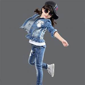 2pcs Girls Clothing Sets 2016 New Cotton Cartoon Denim Coat + Jeans Kids Clothes Sports Suits ...