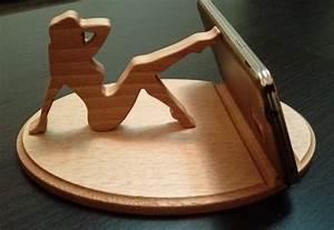 Lady wooden phone holder WoodDecor