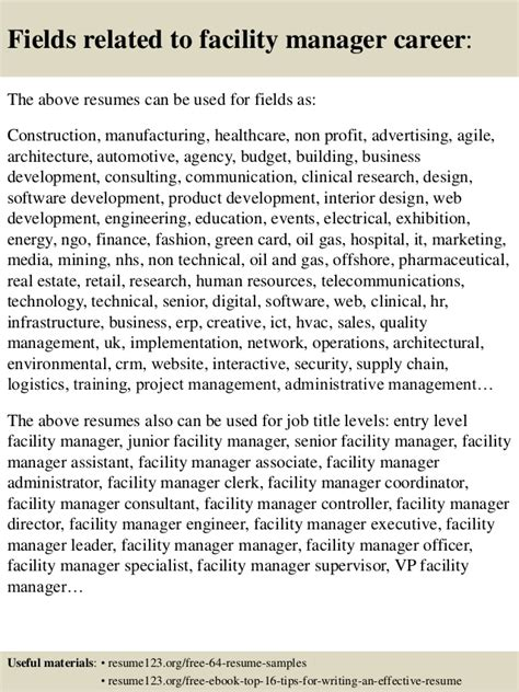 top 8 facility manager resume sles