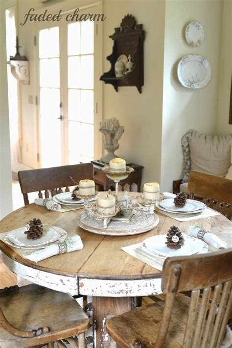 farmhouse style round dining table table setting a round rustic and cottage tablescape is