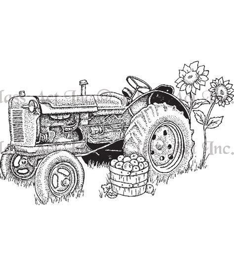 class act cling mounted rubber stamp  tractor jo ann