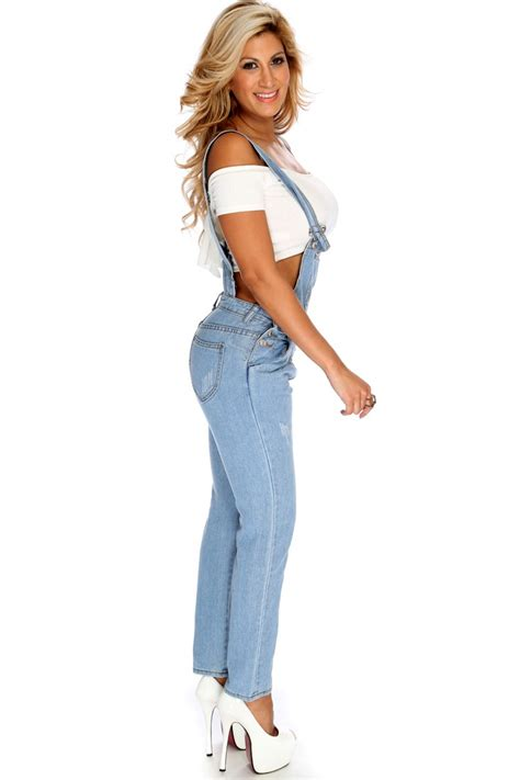 Light Blue Denim Distressed Overall Outfit