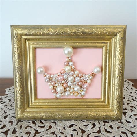 Make your surroundings sparkle with gold wall décor, featuring rose gold and other striking styles. Princess Crown, Pink and Gold - Mosaic wall art - Pastel pink Pearls - Wood Gold frame - Girls ...