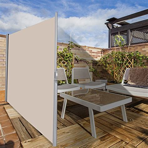 tangkula outdoor patio retractable folding side screen awning waterproof sun shade wind screen