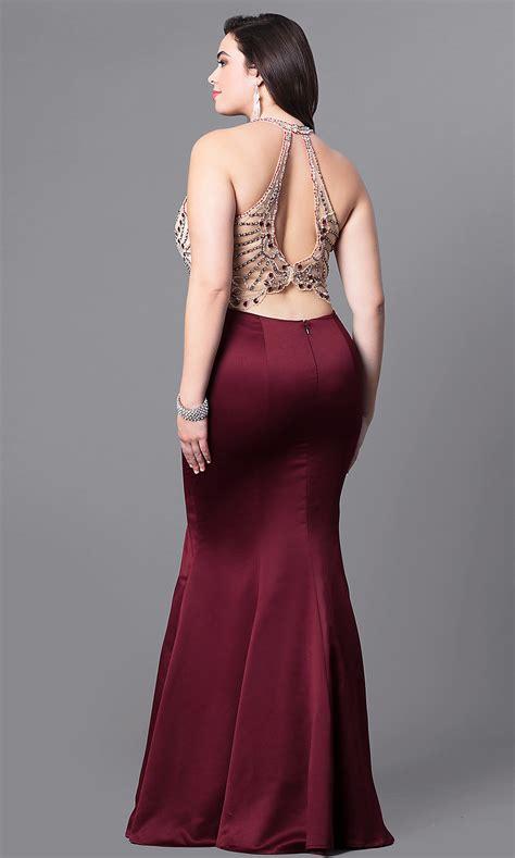 long  size mermaid illusion prom dress promgirl
