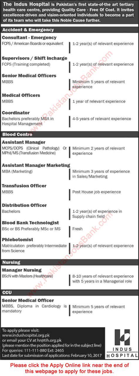 indus hospital karachi 2017 apply