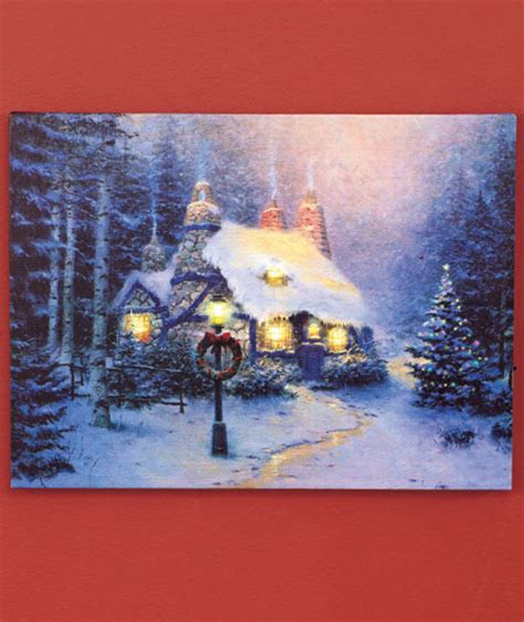 snowy cottage led lighted canvas wall