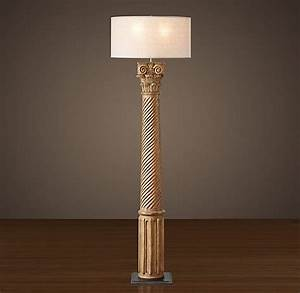 hand carved corinthian column floor lamp with french drum With restore wooden floor lamp