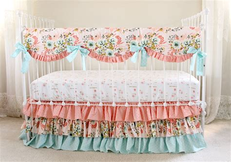 crib sets for bumperless crib bedding blush pink floral lottie da baby
