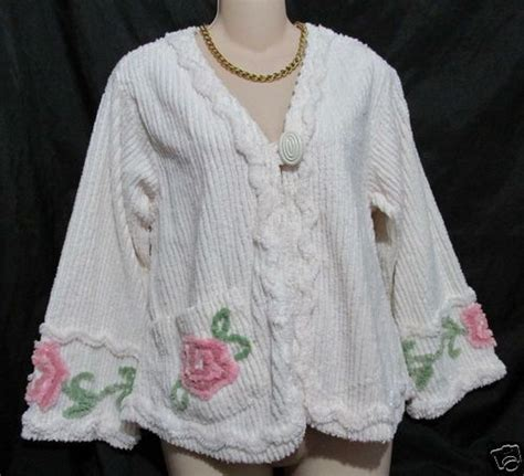 Chenille Bed Jacket by Stan Herman Chenille Bed Jacket Robe Ivory Floral I Want I