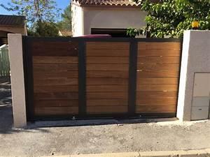 Vial Portillon Fer : great awesome portail coulissant bois exotique portail ~ Premium-room.com Idées de Décoration