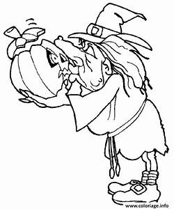 Citrouille D Halloween Dessin : coloriage une sorciere avec sa citrouille d halloween dessin ~ Nature-et-papiers.com Idées de Décoration