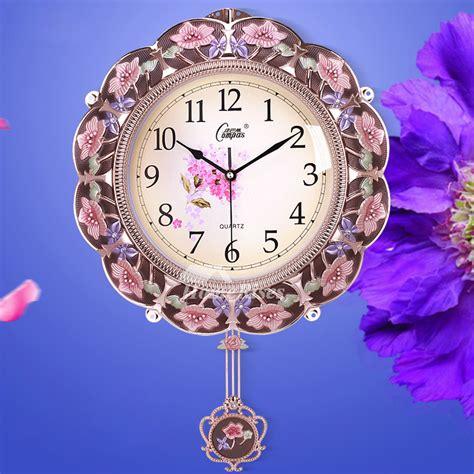 pendulum wall clock floral beautiful decorative living