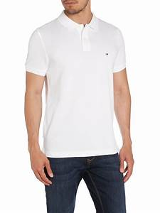 Tommy hilfiger Slim Fit Short Sleeve Polo Shirt in White ...