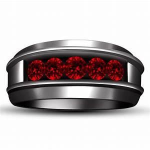 Band Rings Men39s Wedding Band Ring Red Garnet Black Gold