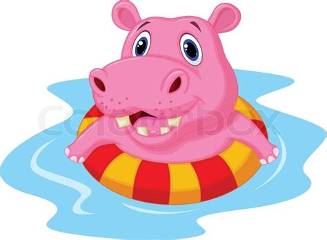 Vector Illustration Of Hippo Cartoon Floating On An